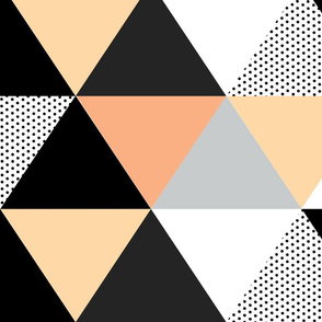 Peach Dot Triangle Cheater Quilt