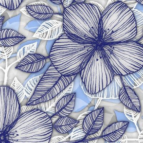 Indigo Summer - a hand drawn floral pattern
