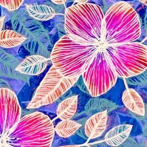 Magenta Blossoms on Blue