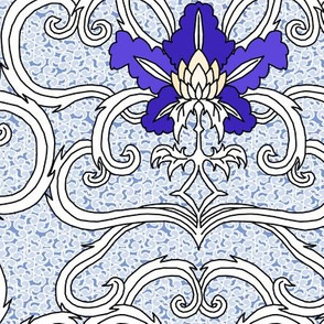 Flowers and Scroll Blue