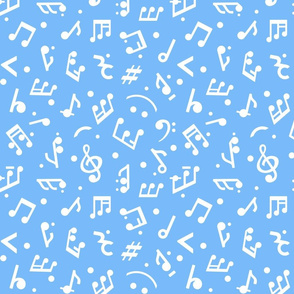 Happy Music Notes in Blue