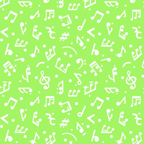 Happy Music Notes in Green