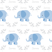 Elephants in A Row -blue - Gray/Gray text  personalized