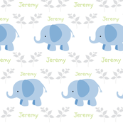 Elephants in A Row -blue- Gray/Green text  personalized