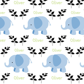 Elephants in A Row - blue- black/green text Personalized