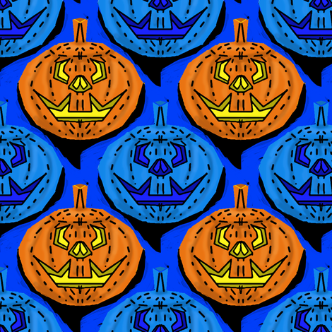 Jack O Lanterns, lit and unlit
