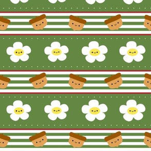 Happy Acorns and Flowers Stripes