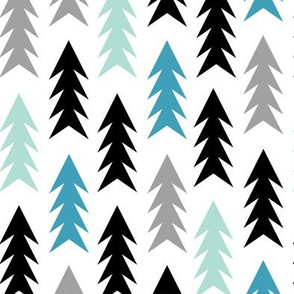 trees forest woodland triangle trees in boys colors for boys nursery baby bedding