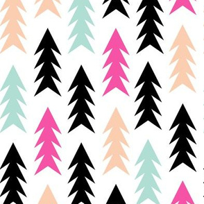 trees magenta blush mint black forest triangles