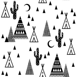 black and white tipi night sky - cactus triangle trendy southwest baby grid design in black and white