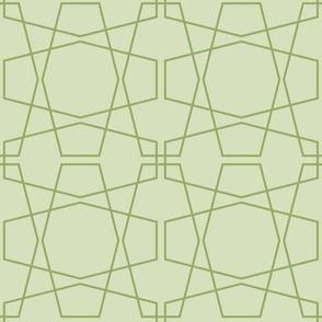 Pale Green Geometric Hexagon