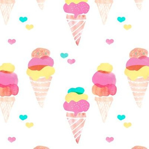 Water color ice cream cone popsicle colorful summer candy food kids illustration pattern print
