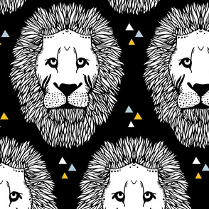Lion Pattern - Blue & Yellow Triangles