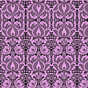 Floral Damask in pink and black