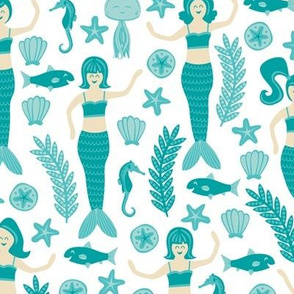 Mermaids & Friends (Teal)