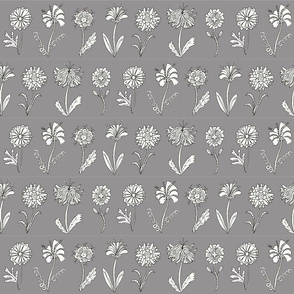 Flower doodles - grey