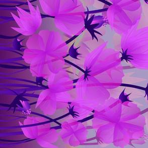 violet floral border print