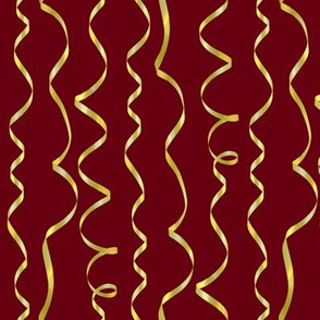 yellow curling ribbons on maroon