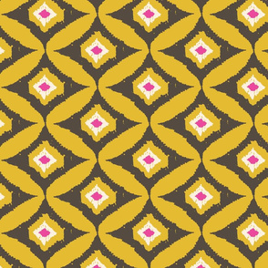 Gray Gold Pink Ikat