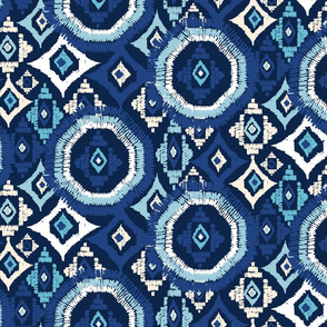 blue ikat octagon