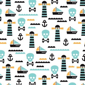 Kids marine theme skulls and pirate boat and light house illustration print design