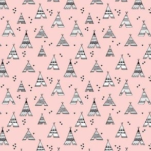 trendy teepee and indian summer arrow illustration geometric aztec print in pink XS