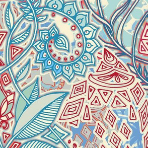 Blue, Red, Turquoise & Cream Geo Botanical Doodle