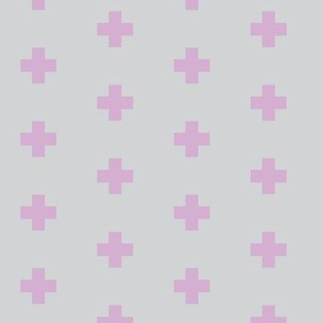 lilac + dove grey cross