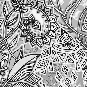 Monochrome Grey Geo Botanical Doodle
