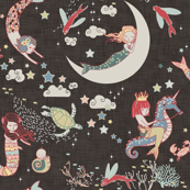 Mermaid Lullaby (Black Linen)