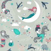 Mermaid Lullaby (Aqua + Coral) LARGE