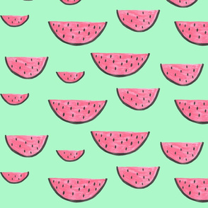 Pink Watermelons on mint green