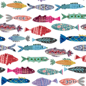 Large Colorful Folk Fish
