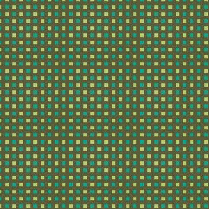 Mini-Windowpane Check in Soft Lime and Turquoise Green on Lemon Gre