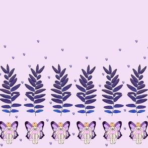 Lavender Pensive Fairy Border Print