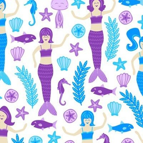 Mermaids and Friends (Purple and Blue)