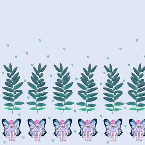 Teal Pensive Fairy Border Print