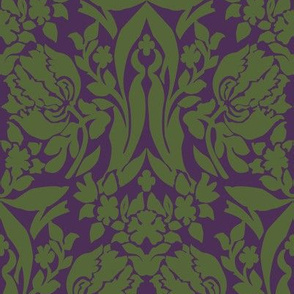 damask frances purple green
