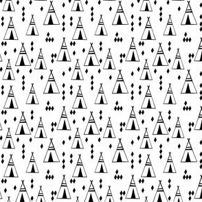 teepee // black and white tiny mini nursery print