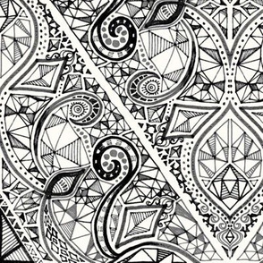 Diamond Doodle in Monochrome Black and White