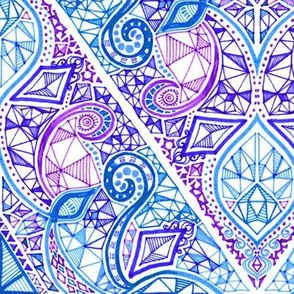 Diamond Doodle in Purple, Blue and White