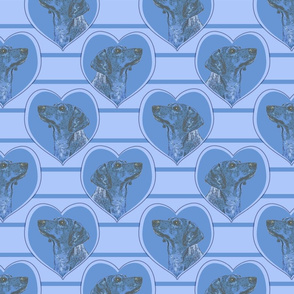 Dachshund heart portraits - blue