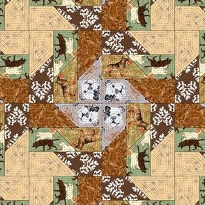 Picket Fence Dogs Cheater Quilt