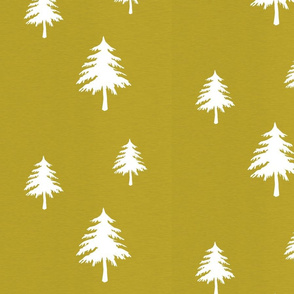 Trees on Mustard Linen