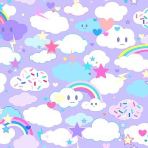Hearts Stars and Clouds in Purples