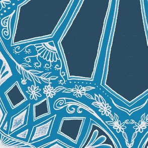 Deep Teal Blue Art Deco Geometric Lace