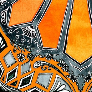 Celebrating the 70's - tangerine orange watercolor on grey