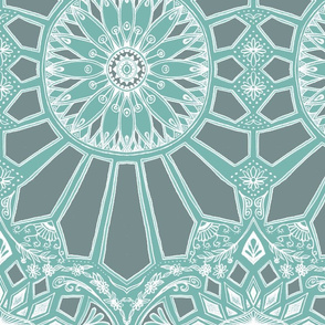 Sage Green Art Deco Geometric Lace