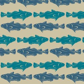 double fish-teal/denim on khaki 2015