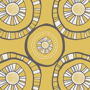 Yellow, Grey and Bone-Ivory HandDrawn Circles